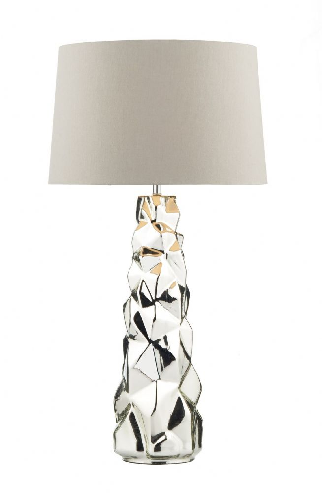 Giuseppe Table Lamp Silver complete with Shade GIU4232/X (Class 2 Double Insulated)